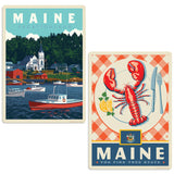 Maine Vacationland Lobster Decal Set of 2