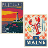 Portland Maine Lighthouse Lobster Decal Set of 2