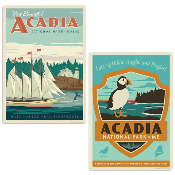 Acadia National Park Bass Harbor Light Maine Decal Set of 2