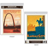 St Louis Kansas City Missouri Decal Set of 2