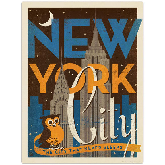 USA_New_York_Vintage_Print_Night_Owl Wholesale Decal
