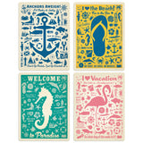 Beach Vacation Decal Set of 4