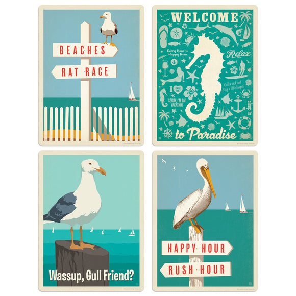 Ocean Birds Welcome to Paradise Decal Set of 4
