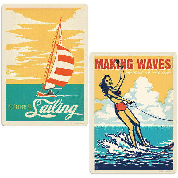 Making Waves Sailing & Water Skiing Decal Set of 2