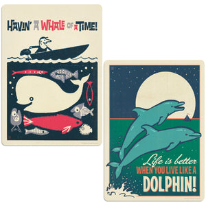 Whale & Dolphin Decal Set of 2