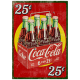 Coca-Cola 25 Cents Six Pack Decal Distressed