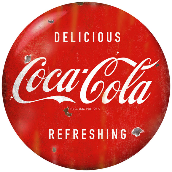 Delicious Coca-Cola Red Disc Decal 1950s Style Distressed