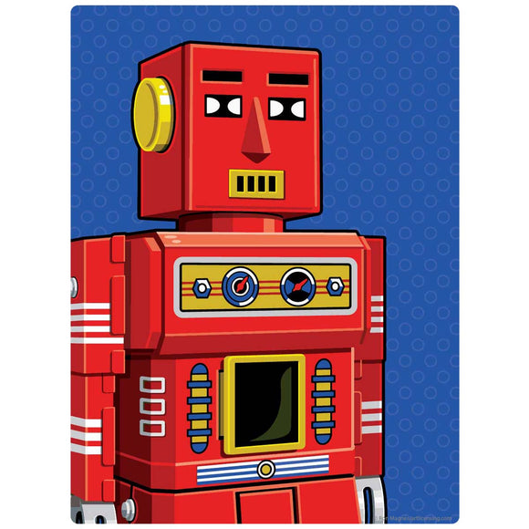Red Retro Robot Toy Decal
