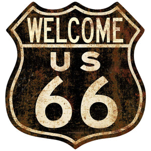 Welcome Route 66 Rusted Look Decal
