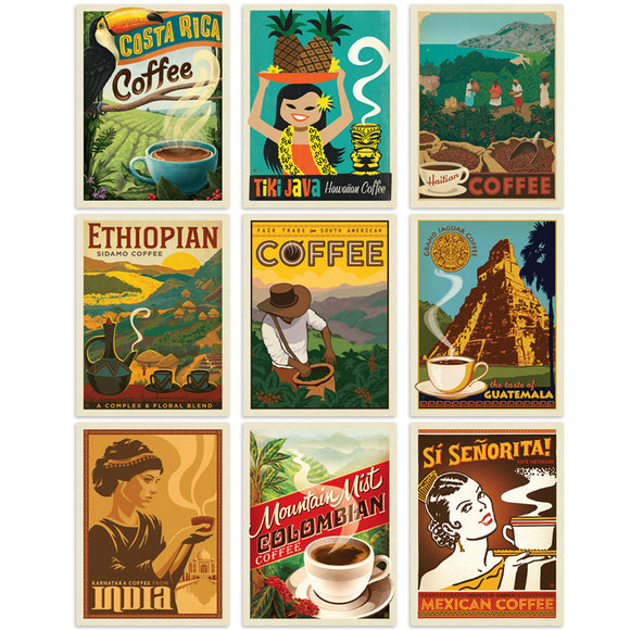 International Coffee Decal Set of 9
