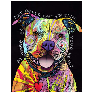 Beware Rainbow Pit Bull Dog Decal