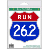 Run Marathon 26.2 Patriotic Shield Sticker