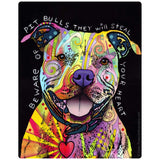 Beware Rainbow Pit Bull Dog Sticker