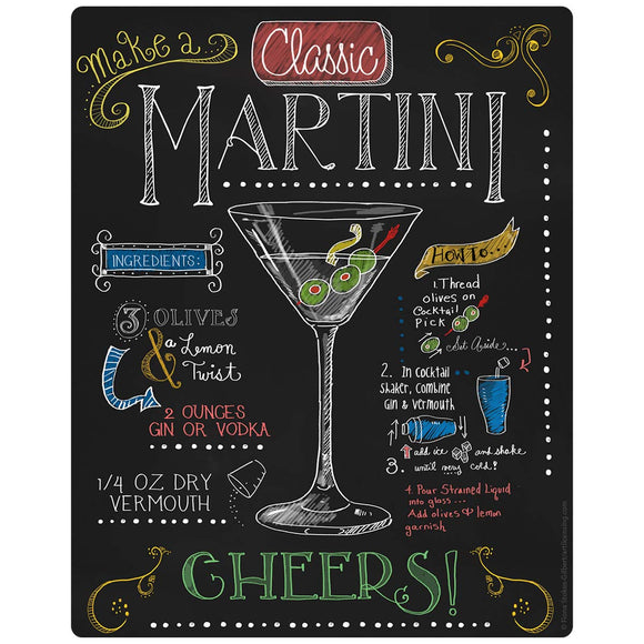 Martini Recipe Chalkboard Look Decal