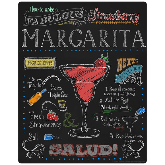 Strawberry Margarita Recipe Chalkboard Look Decal