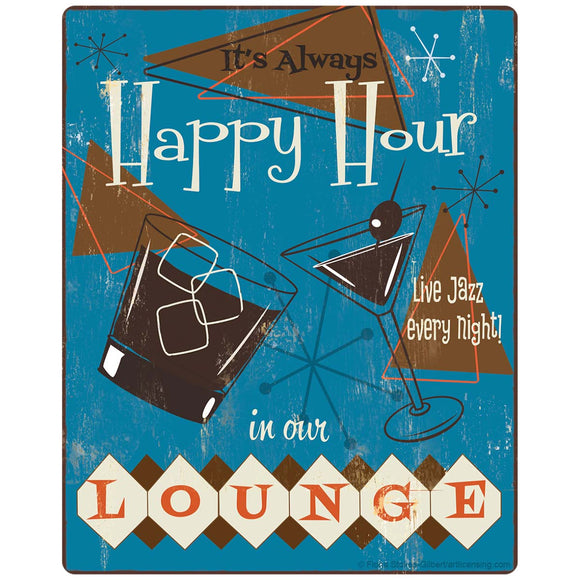 Happy Hour In Our Lounge 1950s Style Sticker