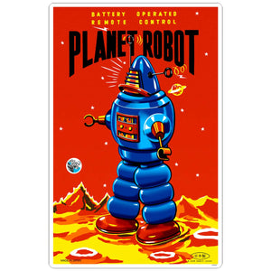 Planet Robot Tin Toy Decal