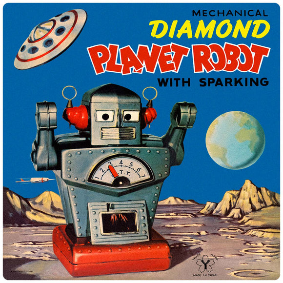Diamond Planet Robot Tin Toy Decal