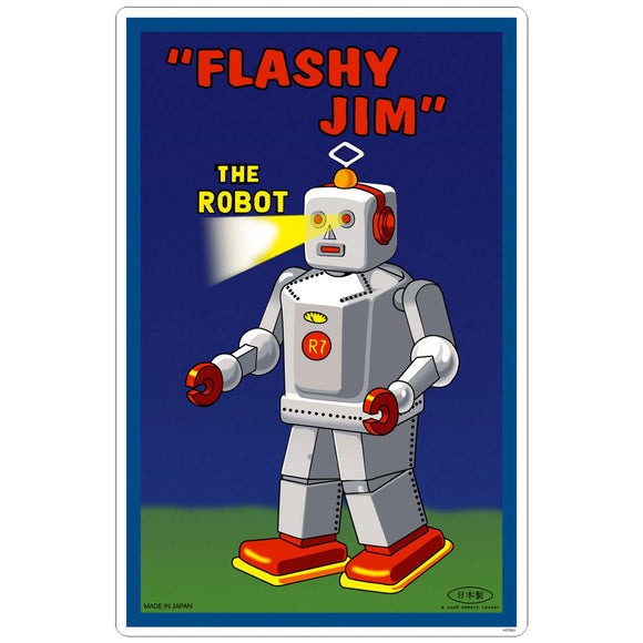 Flashy Jim Robot Tin Toy Sticker