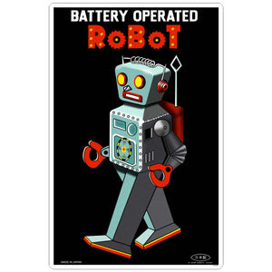 Battery Operated Robot Tin Toy Sticker
