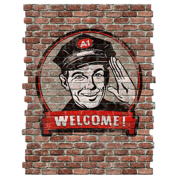 Welcome Gas Station Attendant Faux Brick Decal