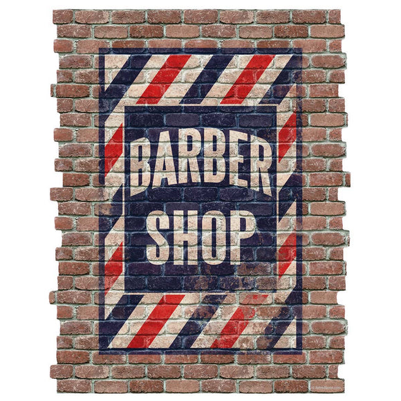Barber Shop Faux Brick Decal
