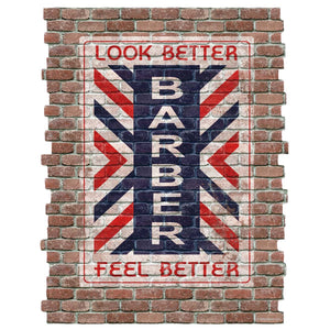 Look Better Barber Shop Faux Brick Decal