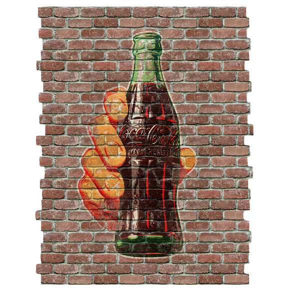 Coca-Cola Bottle in Hand Faux Brick Decal