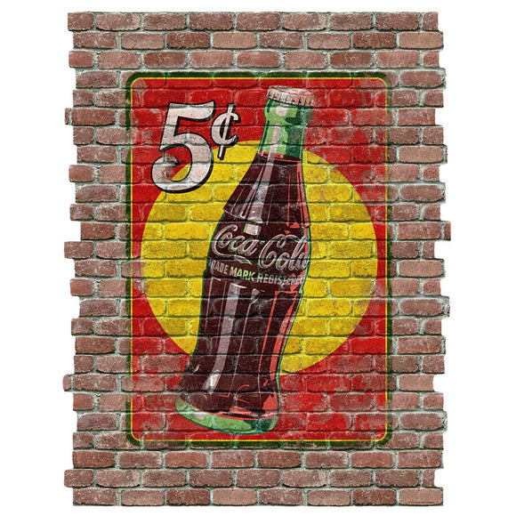 Coca-Cola 5 Cent Bottle Faux Brick Decal