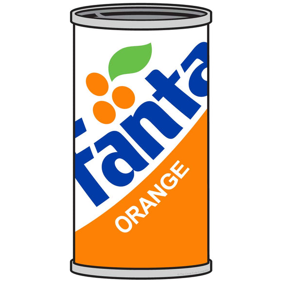 Fanta Orange 1980s Style Can Sticker