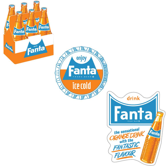 Fanta Orange 1960s Style Sticker Set of 3