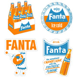 Fanta Orange 1960s Sticker Set of 4