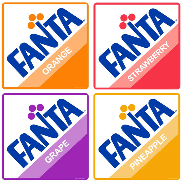 Fanta Flavors 1970s Logos Sticker Set of 4