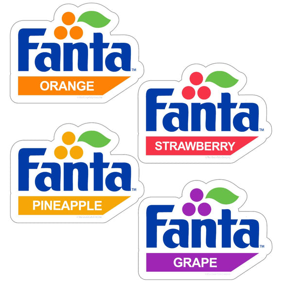 Fanta Flavors 1980s Logos Sticker Set of 4