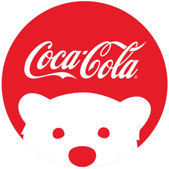 Coca-Cola Script Polar Bear Button Decal