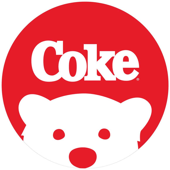 Coke Logo Polar Bear Button Decal