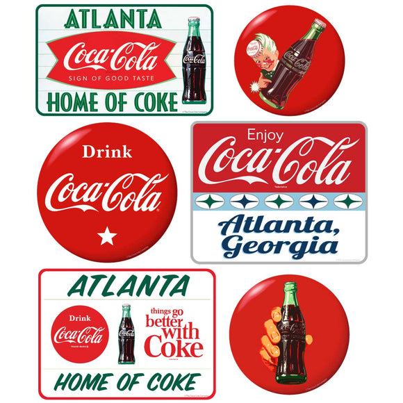 Coca-Cola Atlanta with Red Discs Sticker Set of 6