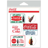 Coca-Cola Atlanta with White Discs Sticker Set of 6