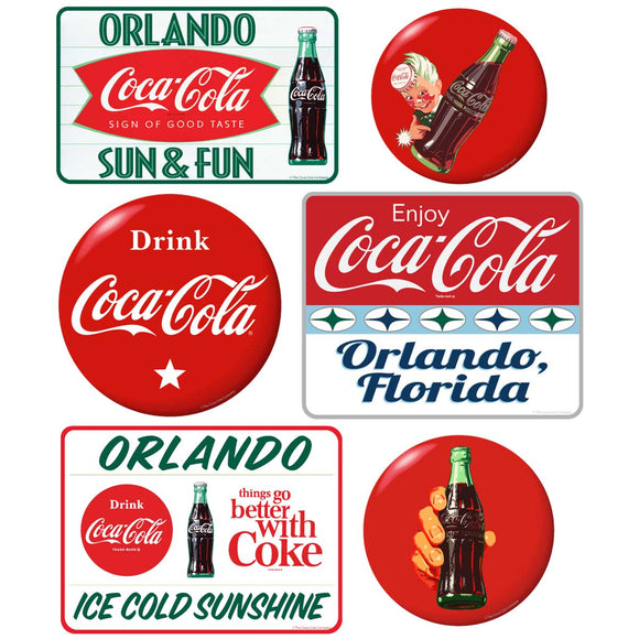 Coca-Cola Orlando with Red Discs Sticker Set of 6
