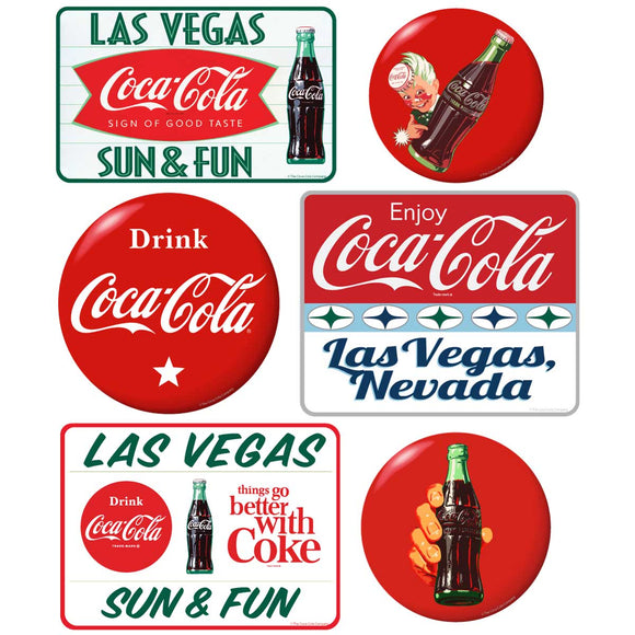 Coca-Cola Las Vegas with Red Discs Sticker Set of 6