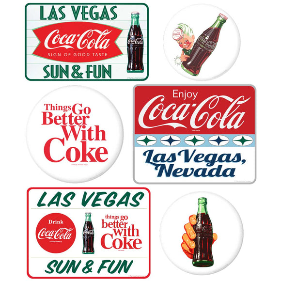 Coca-Cola Las Vegas with White Discs Sticker Set of 6