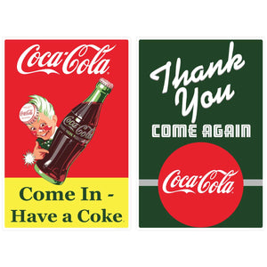Coca-Cola Come In Thank You Door Sticker Set of 2