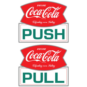 Coca-Cola Push Pull Door Sticker Set of 2