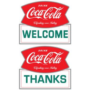 Coca-Cola Welcome Thanks Sticker Set of 2