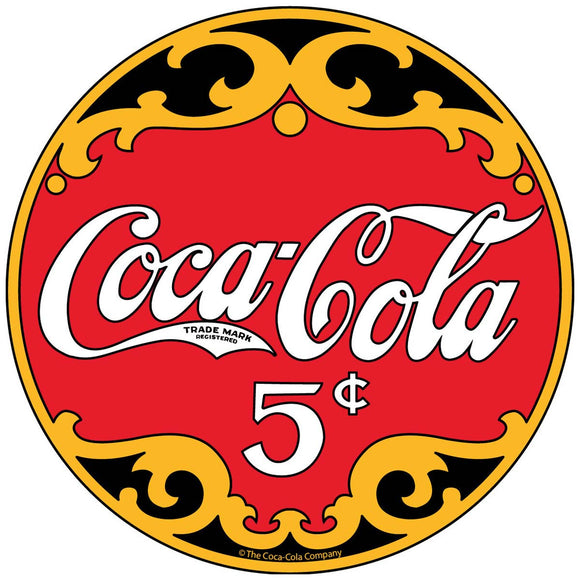 Coca-Cola 1910s Logo 5 Cents Sticker