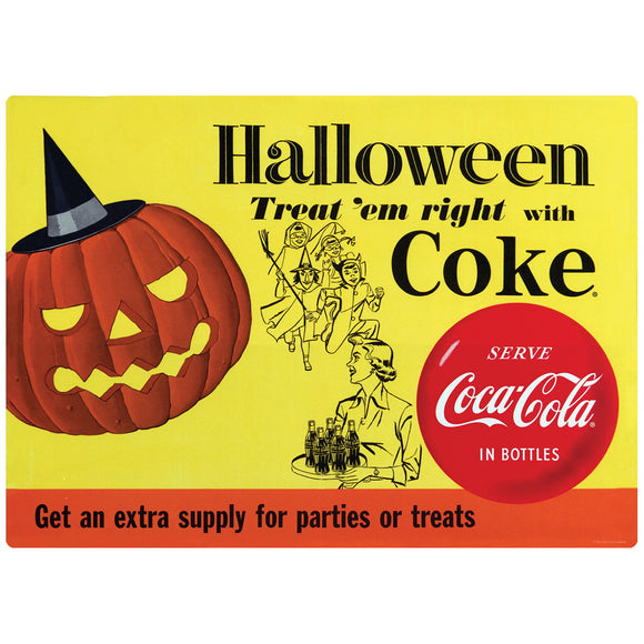 Coca-Cola Halloween Treat Em Right 1956 Style Decal