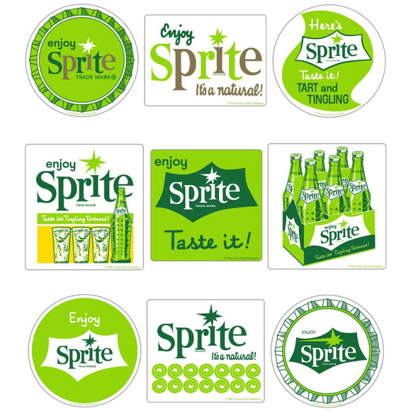 Sprite 1960s Style Vinyl Sticker Set of 9