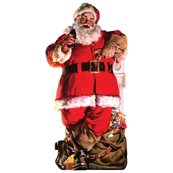 Coca-Cola Santa with Toy Bag Mini Vinyl Stickers 20 ct