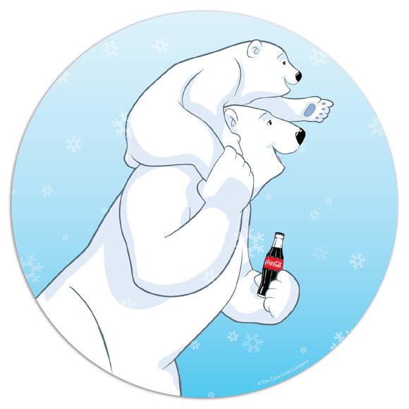 Coca-Cola Polar Bear Piggy Back Mini Vinyl Stickers 20 ct
