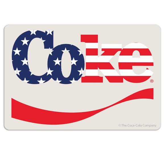 Coke USA Flag Patriotic Distressed Mini Vinyl Stickers 20 ct